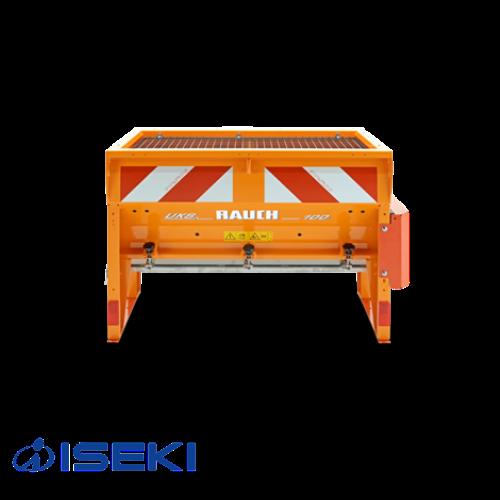 In dem leuchtenden orange besticht der Kastenstreuer von ISEKI nicht nur durch die einfache Anwendung